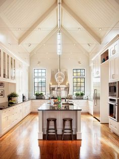 Elegant kitchen design ideas with pitched roof.