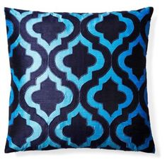 Check out this item at One Kings Lane! Geo 20x20 Appliquéd Pillow, Blue