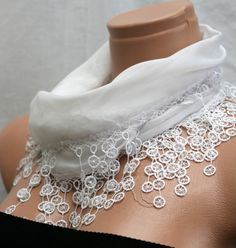 White Cotton Scarf by Winsomescarves $12.00