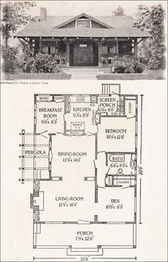 Of the almost infinite variety of bungalow house plans, occasionally one surfaces that is both small and convenient . like this rustic bungalow. Bungalow Haus Design, Bungalow House Plans, Craftsman House Plans, Small House Plans, House Floor Plans, House Design, Small Bungalow, Craftsman Kitchen, Craftsman Porch