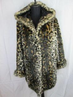 Pamela McCoy Leopard Fur Coat Women's Hooded Jacket Size M #PamelaMcCoy #BasicJacket
