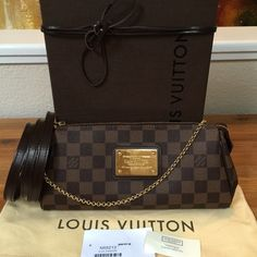 ae5edc606cbb AUTHENTIC 2015! Louis Vuitton Eva Clutch Crossbody Selling an authentic  Louis Vuitton Eva Clutch Crossbody in Damier Ebene. 2015 Edition! Made in  France.
