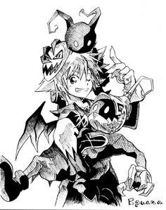 Kingdom Hearts Fan Art: Halloween Sora with Heartless- OMG the heartless look so…
