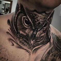 Discover a creature of wisdom and balance with the top 30 best owl neck tattoo designs for men. 30 Owl Neck Tattoo Designs For Men Tattoo Cou, Owl Neck Tattoo, Front Neck Tattoo, Full Neck Tattoos, Neck Tattoo For Guys, Chest Tattoo, Back Tattoo, Tattoos For Guys, Sleeve Tattoos