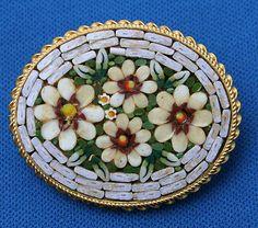 Vintage Micro Mosaic Glass Flowers Pin