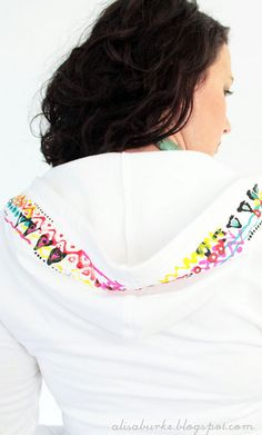 puff painted hood of a sweatshirt.gonna have to snag a zip up from AE Alisa Burke, Puff Paint, Embellished Top, Paint Pens, Totally Awesome, Hoodies, Sweatshirts, Aprons, Fabric Crafts