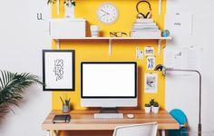 Ein Sonnengelb als Akzent am Arbeitsplatz. #KOLORAT #Wandfarbe #Gelb