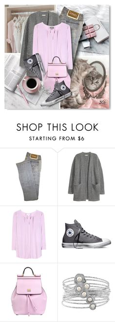 """Pink and Grey"" by breathing-style ❤ liked on Polyvore featuring Versace, Kofta, Velvet, Converse, Dolce&Gabbana and Caran D'Ache"