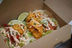Fish Tacos from The Holy Taco Shack beer battered cod chipotle mayonnaise crispy iceberg pico de gallo