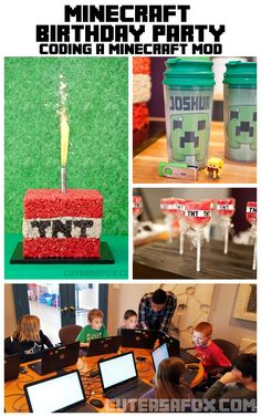 Minecraft Birthday Party.  How to Code a Minecraft Mod at Codakid. See the cake, invitations and Minecraft themed party favors.