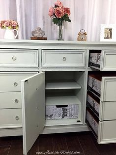 This modern dresser made shabby from Just the Woods features our acrylic cabinet knobs and an awesome decoupage job!