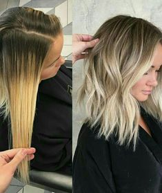 Here's Every Last Bit of Balayage Blonde Hair Color Inspiration You Need. balayage is a freehand painting technique, usually focusing on the top layer of hair, resulting in a more natural and dimensional approach to highlighting. 50 Hair, Curls Hair, Wavy Hair, Hair Color And Cut, Hair Colour, Color For Short Hair, Ombre Colour, Hair Color Balayage, Blonde Lob Balayage