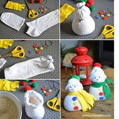 {DiY} Snowman Recover with a simple sock ! Snowman Christmas Ornaments, Diy Snowman, Christmas Fun, Sock Crafts, Christmas Projects, Christmas Crafts, Christmas Activities For Kids, Diy Weihnachten, Handmade Crafts