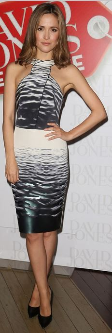 Who made Rose Byrne's black pumps and white print dress that she wore in Sydney on December 26, 2013?