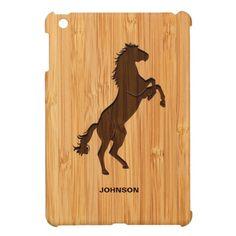 Bamboo Look & Engraved Elegant Standing Horse iPad Mini Case Cute Ipad Cases, Ipad Mini Cases, Ipad 1, Tech Accessories, Bamboo, Gadgets, Horses, Elegant, Phone