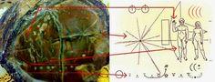 Comparativo do artefato Alien encontrado Em Kupang na Indonesia com a placa da Pioneer - arquivo de pesquisa urandir 2015  http://portalpesquisa.com/ufologia/artefato-alien-contendo-mapa-estelar-encontrado-em-kupang-na-indonesia.html
