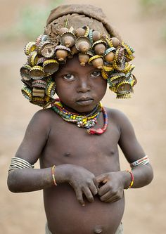 Ethiopian Women and Children of the Dassanach Tribe Make Wigs Out of Bottle Caps | Black Girl with Long Hair