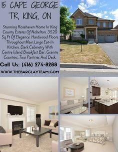 Stunning Rosehaven Home In King County Estates Of Nobelton. 3520 Sq Ft Of Elegance. Hardwood Floors Throughout Main.Large Eat-In Kitchen. Dark Cabinetry With Centre Island Breakfast Bar, Granite Counters, Two Pantries And Desk. Walk-Out To Rear Yard.Upgraded Porcelain Tile In Kitchen 18' X 18'. Main Floor Laundry And Entrance From Garage, 2nd Staircase To Lower Level. Property Type: Detached Price : $1,388,000 Call Us : (416) 274-8288