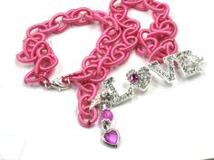 Valentine Necklace LOVE LETTERS Pink Chain & Heart Charm by Chris of FantasyDesign, $25.00