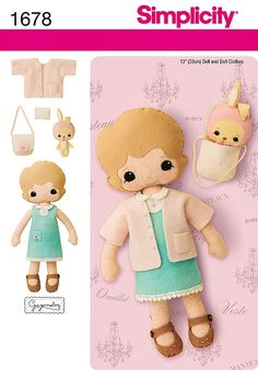 Handstitched Felt Doll Pattern 13 inch Felt Doll di blue510