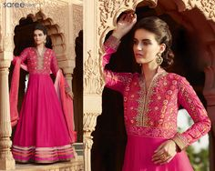 Live a day in the life of a fairy tale princess, dressed in this floor-length, charming to the core, slimming and skimming Anarkali suit ensemble! Crafted in all seasons' fabric - georgette, this suit has a classic styling and design, and will go well with many occasions and festivals. #Salwarsuit #Anarkali #Anarkalisalwarsuit #Pink #Pinksalwarsuit #Pinksalwarkameez #salwarkameez #salwar #suit #Fashionindia #Indianfashion