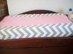 Silver Chevron and Pink  Minky Changing Pad Cover  *NEW*  Handmade #Handmade