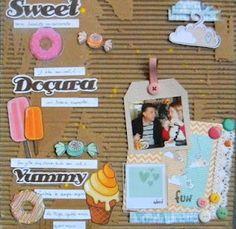 papéis e carimbos Goodies,papelão, tinta,renda,botões e bailarinas