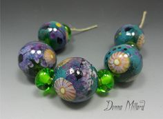 SRA HANDMADE LAMPWORK Bead Set Donna Millard glass by DonnaMillard