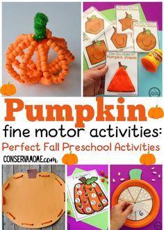 Pumpkin fine motor activities: Perfect Fall Toddler Activities
