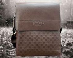 Kožená taška cez rameno POLO pre pánov v hnedej farbe (5)