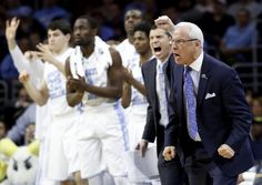 March 26, 2016 - Notre Dame Fighting Irish vs. North Carolina Tar Heels - North Carolina coach Roy Williams and players react during the second half of the team's college basketball game against Indiana in the regional semifinals of the men's NCAA Tournament, early Saturday, March 26, 2016, in Philadelphia. (AP Photo/Matt Rourke)