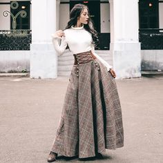 full skirt outfit YOSIMI 2019 Autumn Winter Sweater Skirt Set Full Sleeve Blouse Top and Woolen Plaid Skirt and Top Set Women Two Piece Outfits Plaid Fashion, Fashion Outfits, Fall Outfits, Emo Fashion, Modest Fashion, Fashion Tips, Full Skirt Outfit, Dress Skirt, Maxi Skirt Outfits