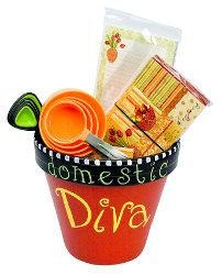 Domestic Diva Gift Basket tutorial by DecoArt. I think you could go up another size of pot if you wanted to add more.  akt