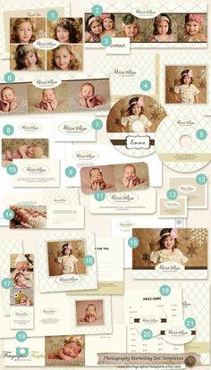 21 Pc Photography Marketing Set Templates by PhotographerTemplate, $39.00