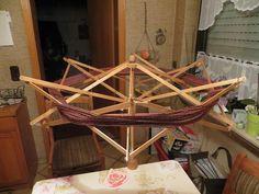Große Schirm Haspel aus Holz, Spinnrad, stufenlos verstellbar, super Zustand in Antiquitäten & Kunst, Alte Berufe, Spinner | eBay