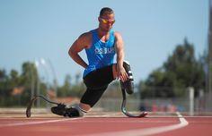 Oscar Pistorius, known as the fastest man with no legs.  Found at http://www.oscarpistorius.com