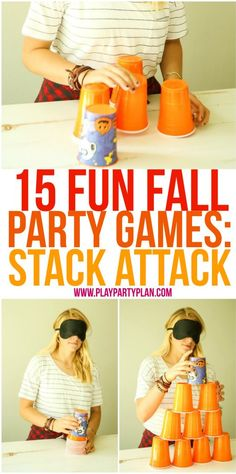 15 fun fall party games that are perfect for every age - for kids, for adults, for teens, or even for kindergarten age kids! Tons of great minute to win it style games you could play at home, in the c (Minutes To Win It Games For Kids) Fall Party Games, Fall Games, Halloween Party Games, Birthday Party Games, Fall Halloween, Halloween Games For Adults, Party Games For Adults, Indoor Games For Adults, Holiday Games