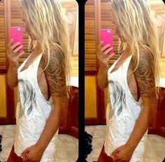 Tattoos: Attractive Love Heart Flower Half Sleeve Tattoo Design - Fair Tattoo