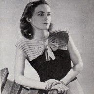 Vintage Knitting Patterns- vintage 1940s wartime knitting pattern for very sweet bow front jumper- easy to make, pdf