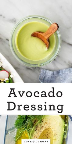 This creamy avocado dressing is bright, healthy, and totally dairy-free! Toss it with salads, drizzle it over roasted veggies, or dollop it onto grain bowls. SO easy and delicious! | Love and Lemons #dressing #avocado #dairyfree #healthy #sauce Avocado Recipes, Lemon Recipes, Veggie Recipes, How To Cook Asparagus, How To Cook Quinoa, Bright Line Eating Recipes, Creamy Avocado Dressing, Roasted Radishes, Homemade Seasonings