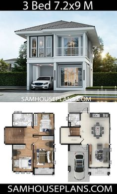 House Plans Idea with 3 bedrooms – Sam House Plans - Haus Ideen 2 Storey House Design, Duplex House Design, Tiny House Design, Modern House Design, Home Design, Simple House Design, Minimalist House Design, Sims House Plans, House Layout Plans