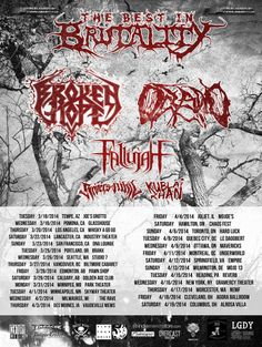 Best In Brutality tour featuring #BrokenHope, #Oceano, #Fallujah, #RiversOfNihil, and #Kublai. #soundrink