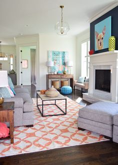 grey, navy, coral, white    The Heart of The (Show) Home   Young House Love