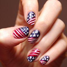 Elegant Nail Art for 4TH July American Flag Inspired Stripes and Starts        #redwhitebluenails #4thofjulynails #newpatriotsnaildesigns #patrioticnails #4thjulynailart #4thjulynailartideas #4thjulynailartdesigns #usanailart4thjuly #IloveUSAnailart