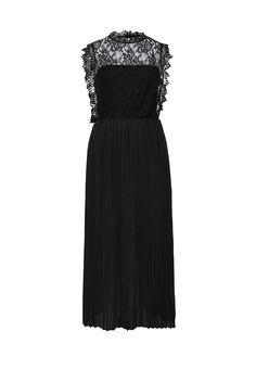 Необычное черное вечернее платье с кружевным верхом LOST INK AYLA PLEATED SKIRT DRESS выполнено из легкого шифона. Подробнее — http://fas.st/5O6TQt