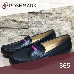 """Cole Haan Monroe Blue Purple Leather Penny Loafer Cole Haan Monroe navy blue and purple or fuchsia leather penny loafers. Excellent preloved condition, little creasing in the upper, slight wear at the back heel edge, please see photos. Women's size 7 B, heel height .75"""", style D39013.  f1472 Cole Haan Shoes Flats & Loafers"""