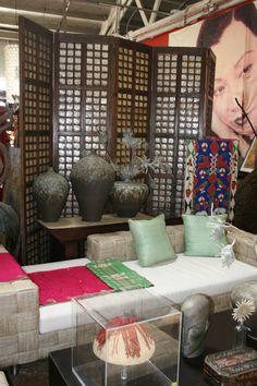 Capiz shell panel screen, Basket weave tinalak fiber chaise. Out of Asia showroom. sales@outofasia.com