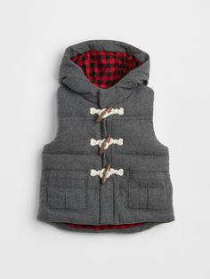Gap Baby Plaid-Lined Toggle Vest Charcoal Grey Toddler Fashion, Toddler Outfits, Baby Boy Outfits, Kids Outfits, Fashion Kids, Fashion Clothes, Fall Fashion, Cool Baby Clothes, Cool Baby Stuff