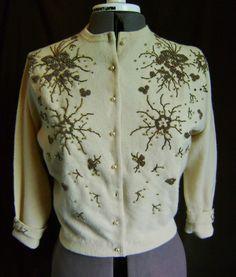 1950s BEADED CASHMERE Sweater -S/M- GORGEOUS BEADWORK   eBay
