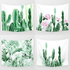 Cactus and palm leaf wall tapestries